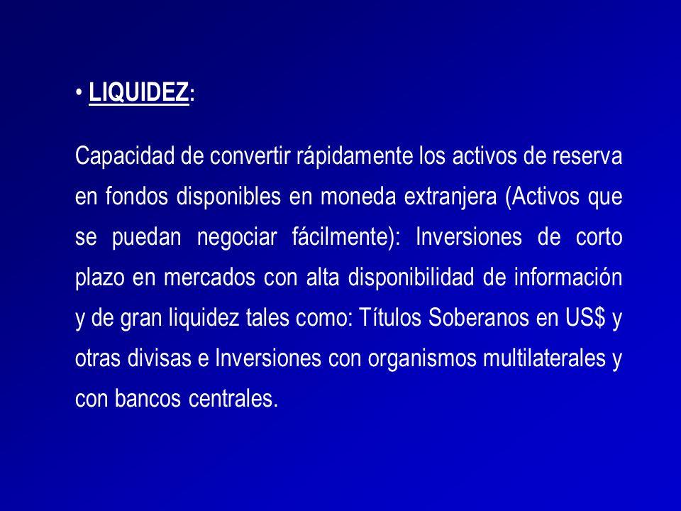 LIQUIDEZ : Capacidad de convertir rápidamente los activos de reserva en fondos disponibles en moneda extranjera (Activos que se puedan negociar fácilm