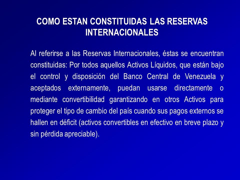 Al referirse a las Reservas Internacionales, éstas se encuentran constituidas: Por todos aquellos Activos Líquidos, que están bajo el control y dispos