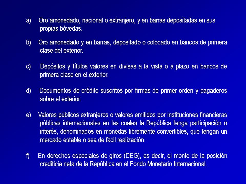 El Artículo 7 (numeral 5) de la Ley del Banco Central de Venezuela, especifica entre las funciones del instituto emisor la de centralizar y administrar las reservas monetarias internacionales de la República.