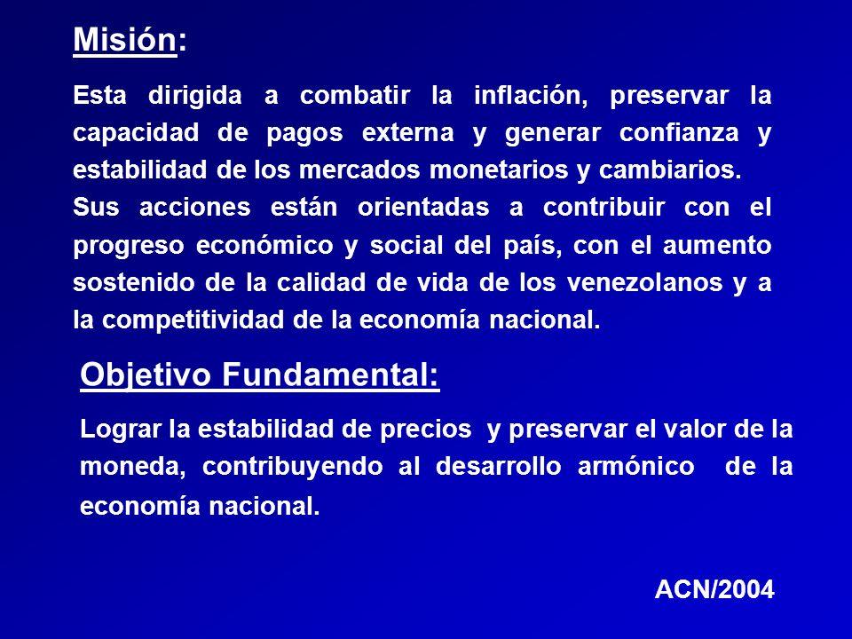 Esta dirigida a combatir la inflación, preservar la capacidad de pagos externa y generar confianza y estabilidad de los mercados monetarios y cambiari