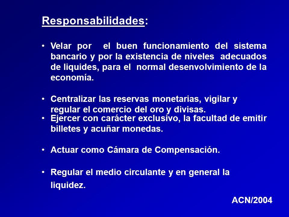Responsabilidades: Velar por el buen funcionamiento del sistema bancario y por la existencia de niveles adecuados de liquides, para el normal desenvol