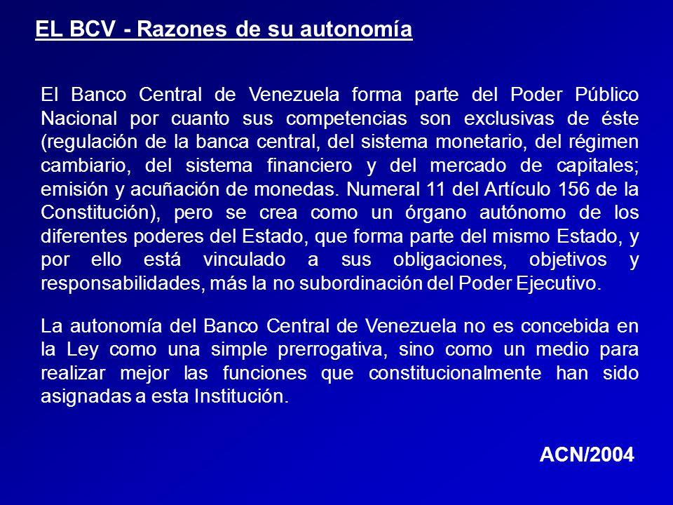 EL BCV - Razones de su autonomía El Banco Central de Venezuela forma parte del Poder Público Nacional por cuanto sus competencias son exclusivas de és