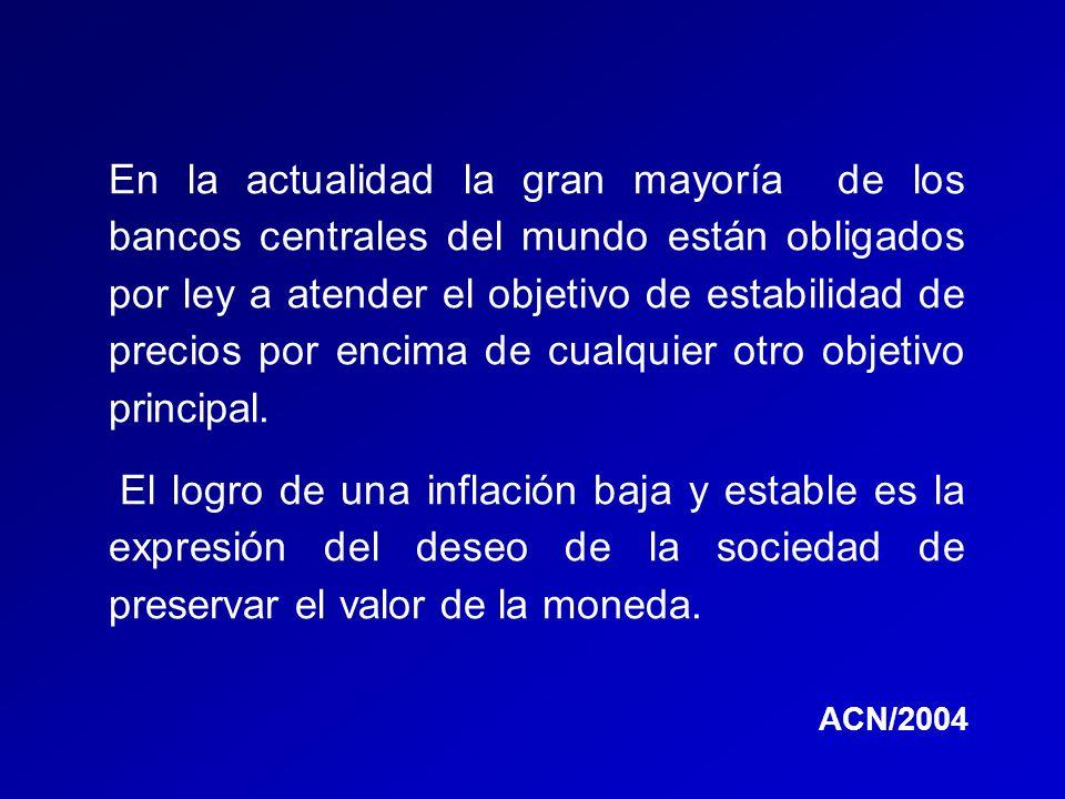 Objetivos principales de los Bancos Centrales en Latinoamérica Administrar las reservas, velar por los pagos internos, velar por los pagos externos, preservar el valor interno de la moneda, preservar el valor externo de la moneda, vigilar y/o promover el mercado financiero, actuar como agente financiero del Estado, promover el desarrollo de la economía, procurar la coordinación entre la política monetaria y fiscal ACN/2004