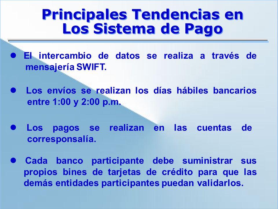El intercambio de datos se realiza a través de mensajería SWIFT. Principales Tendencias en Los Sistema de Pago Los envíos se realizan los días hábiles