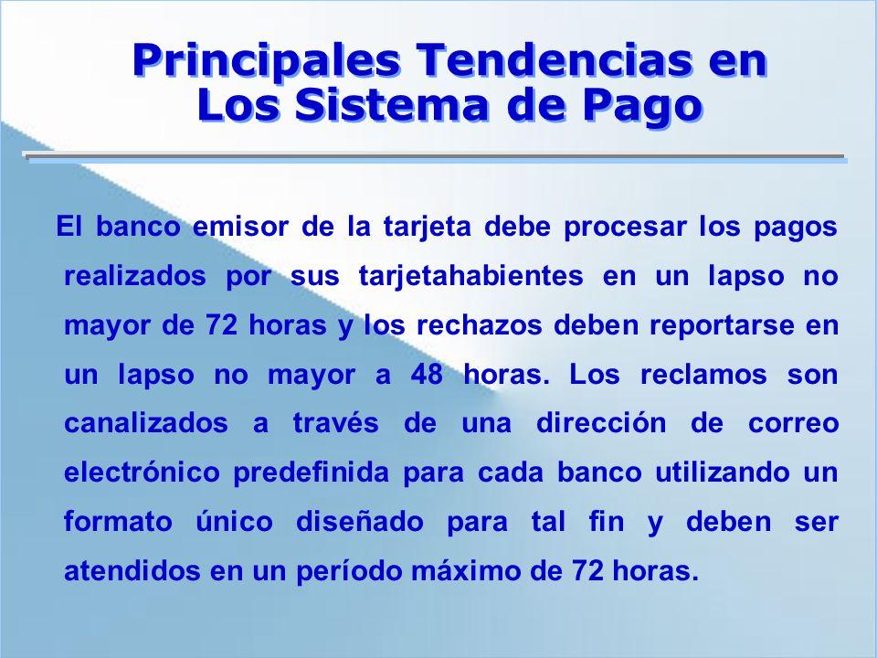 El banco emisor de la tarjeta debe procesar los pagos realizados por sus tarjetahabientes en un lapso no mayor de 72 horas y los rechazos deben report