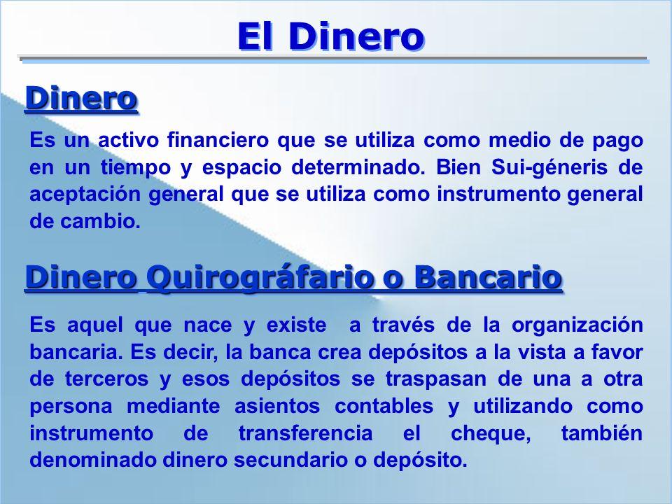 El Dinero Es un activo financiero que se utiliza como medio de pago en un tiempo y espacio determinado. Bien Sui-géneris de aceptación general que se