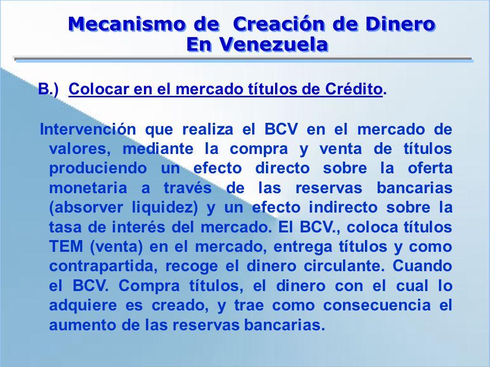 Intervención que realiza el BCV en el mercado de valores, mediante la compra y venta de títulos produciendo un efecto directo sobre la oferta monetari