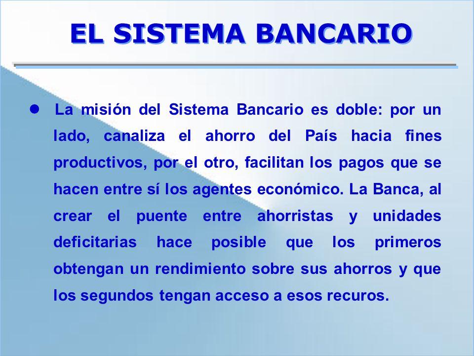EL SISTEMA BANCARIO La misión del Sistema Bancario es doble: por un lado, canaliza el ahorro del País hacia fines productivos, por el otro, facilitan