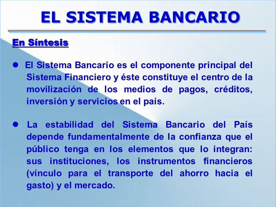 EL SISTEMA BANCARIO El Sistema Bancario es el componente principal del Sistema Financiero y éste constituye el centro de la movilización de los medios