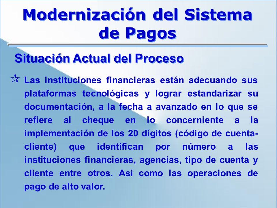¶ Las instituciones financieras están adecuando sus plataformas tecnológicas y lograr estandarizar su documentación, a la fecha a avanzado en lo que s