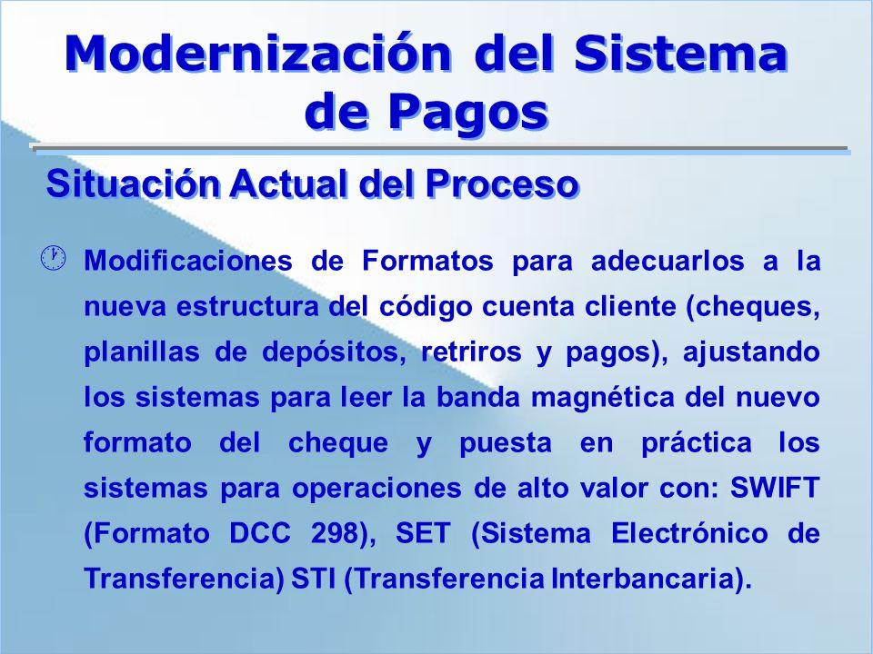 Situación Actual del Proceso · Modificaciones de Formatos para adecuarlos a la nueva estructura del código cuenta cliente (cheques, planillas de depós