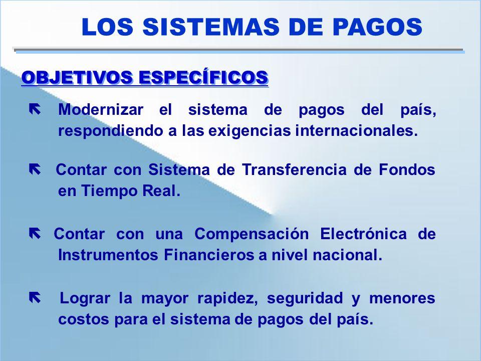 OBJETIVOS ESPECÍFICOS LOS SISTEMAS DE PAGOS Modernizar el sistema de pagos del país, respondiendo a las exigencias internacionales. Contar con Sistema