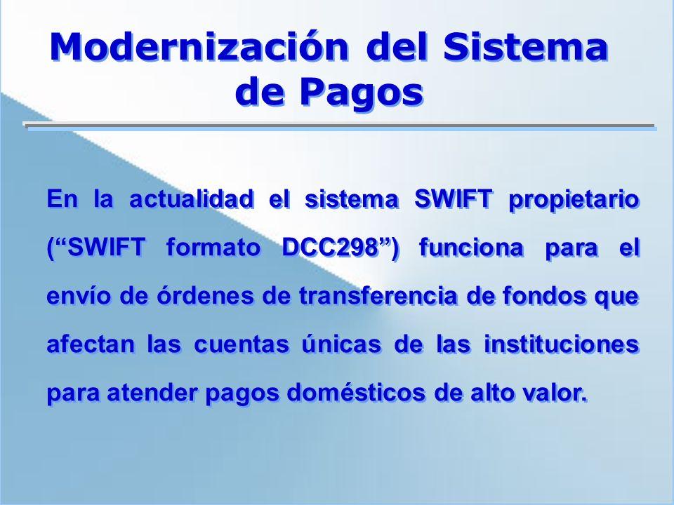 En la actualidad el sistema SWIFT propietario (SWIFT formato DCC298) funciona para el envío de órdenes de transferencia de fondos que afectan las cuen