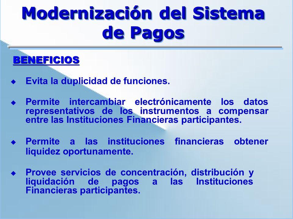 BENEFICIOS Permite intercambiar electrónicamente los datos representativos de los instrumentos a compensar entre las Instituciones Financieras partici