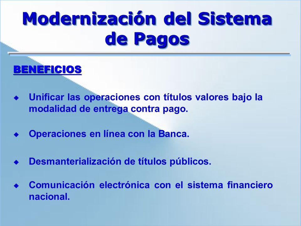 BENEFICIOS Unificar las operaciones con títulos valores bajo la modalidad de entrega contra pago. Operaciones en línea con la Banca. Desmanterializaci