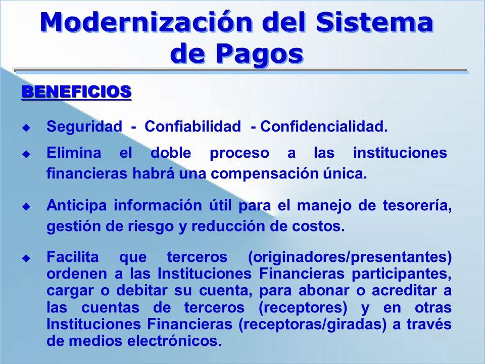 Elimina el doble proceso a las instituciones financieras habrá una compensación única. Facilita que terceros (originadores/presentantes) ordenen a las