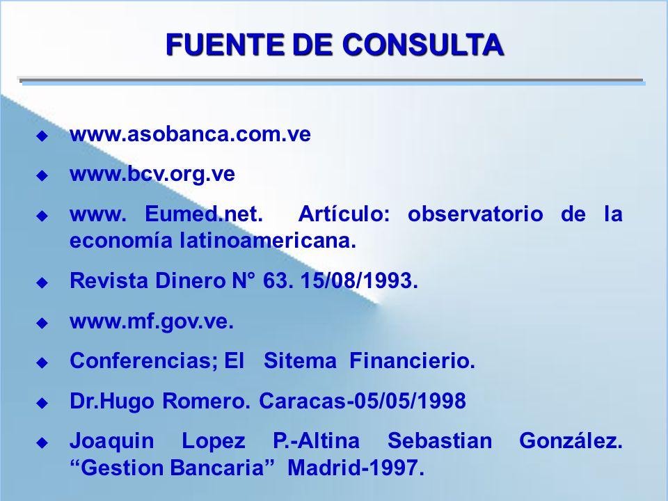 www.asobanca.com.ve www.bcv.org.ve www. Eumed.net. Artículo: observatorio de la economía latinoamericana. Revista Dinero N° 63. 15/08/1993. www.mf.gov