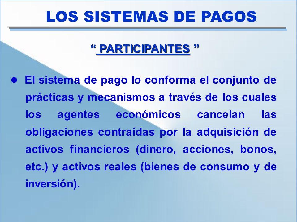 Los principales participantes en el Sistema de Pagos son los bancos, que en Venezuela pueden tomar formas especificas como bancos comerciales universales, hipotecarios o de inversión, entidades de ahorros y préstamos, las arrendadoras y los fondos del mercado de dinero.