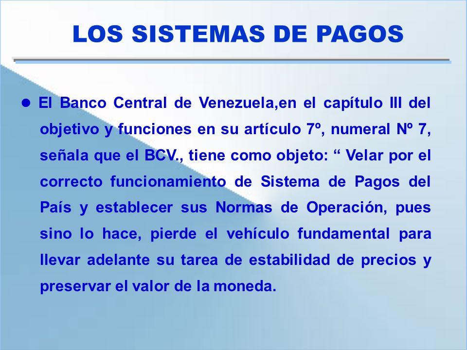 El Banco Central de Venezuela,en el capítulo III del objetivo y funciones en su artículo 7º, numeral Nº 7, señala que el BCV., tiene como objeto: Vela