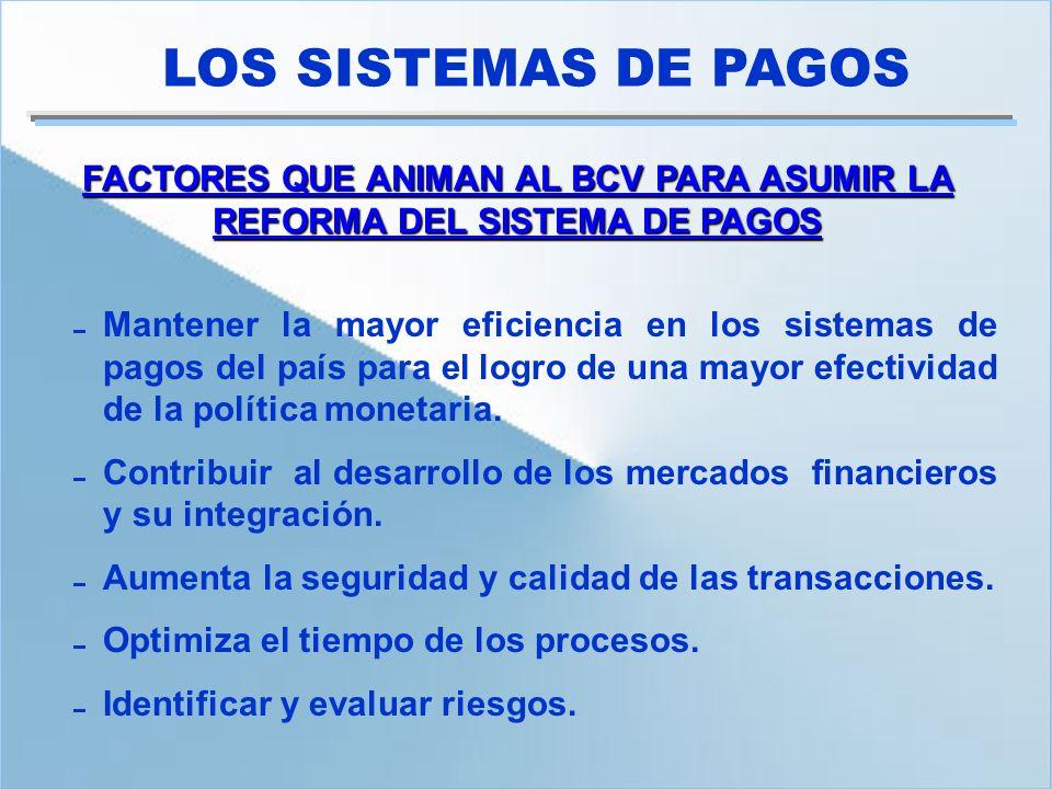 FACTORES QUE ANIMAN AL BCV PARA ASUMIR LA REFORMA DEL SISTEMA DE PAGOS Mantener la mayor eficiencia en los sistemas de pagos del país para el logro de