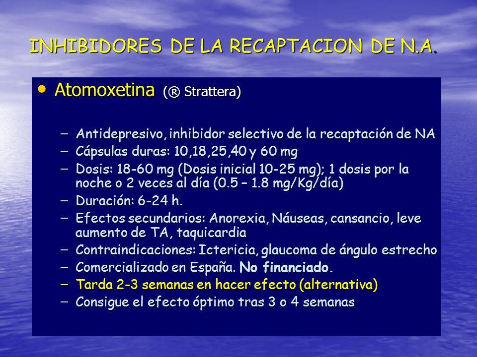 INHIBIDORES DE LA RECAPTACION DE N.A. Atomoxetina (® Strattera) Atomoxetina (® Strattera) – Antidepresivo, inhibidor selectivo de la recaptación de NA