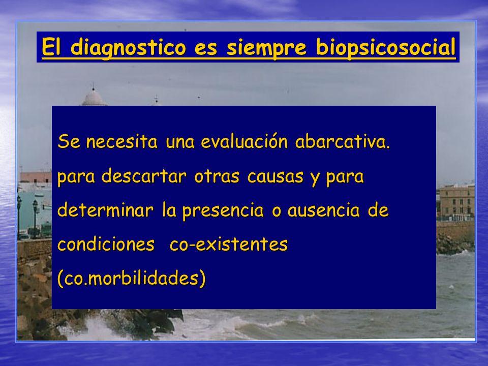 Se necesita una evaluación abarcativa. para descartar otras causas y para determinar la presencia o ausencia de condiciones co-existentes (co.morbilid