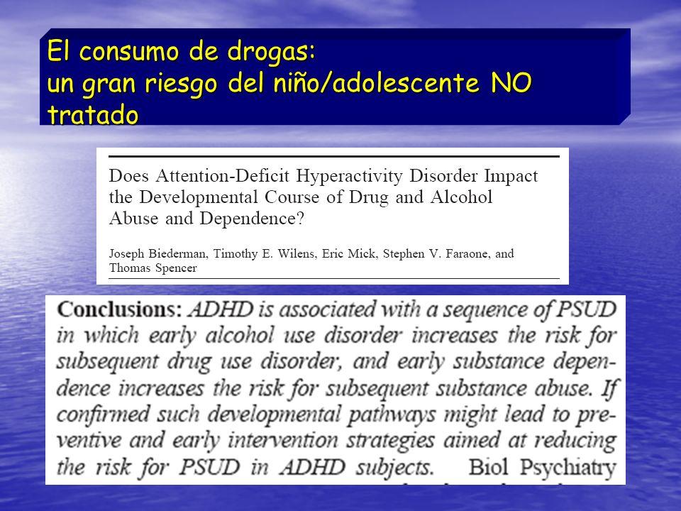 El consumo de drogas: un gran riesgo del niño/adolescente NO tratado