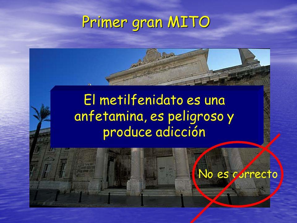 Primer gran MITO El metilfenidato es una anfetamina, es peligroso y produce adicción No es correcto