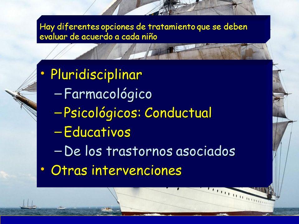 Pluridisciplinar Pluridisciplinar – Farmacológico – Psicológicos: Conductual – Educativos – De los trastornos asociados Otras intervenciones Otras int