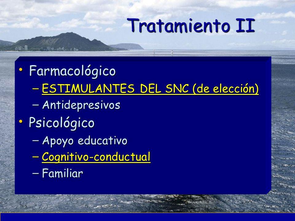 Tratamiento II Farmacológico Farmacológico – ESTIMULANTES DEL SNC (de elección) – Antidepresivos Psicológico Psicológico – Apoyo educativo – Cognitivo