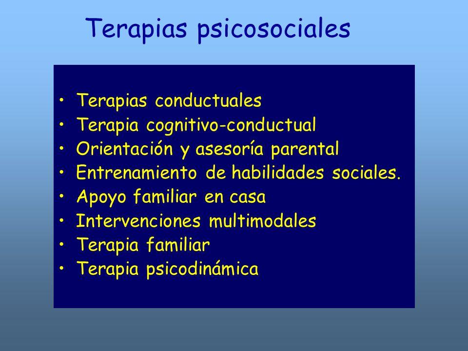 Terapias psicosociales Terapias conductuales Terapia cognitivo-conductual Orientación y asesoría parental Entrenamiento de habilidades sociales. Apoyo