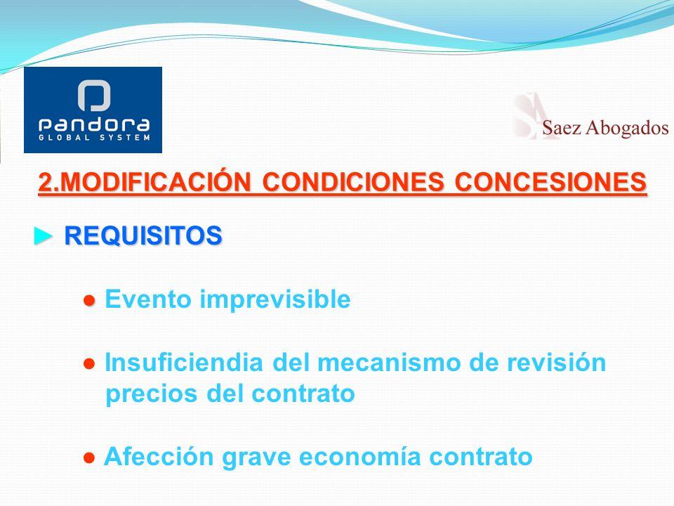 REQUISITOS REQUISITOS Evento imprevisible Insuficiendia del mecanismo de revisión precios del contrato Afección grave economía contrato 2.MODIFICACIÓN CONDICIONES CONCESIONES