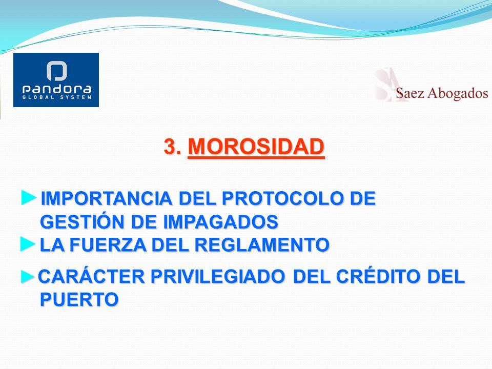 3. MOROSIDAD IMPORTANCIA DEL PROTOCOLO DE GESTIÓN DE IMPAGADOS GESTIÓN DE IMPAGADOS LA FUERZA DEL REGLAMENTO CARÁCTER PRIVILEGIADO DEL CRÉDITO DELCARÁ