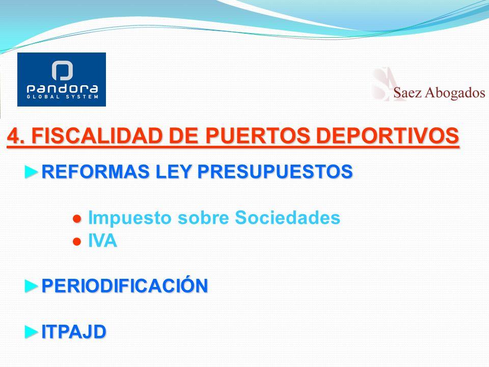 4. FISCALIDAD DE PUERTOS DEPORTIVOS REFORMAS LEY PRESUPUESTOSREFORMAS LEY PRESUPUESTOS Impuesto sobre Sociedades IVA PERIODIFICACIÓNPERIODIFICACIÓN IT