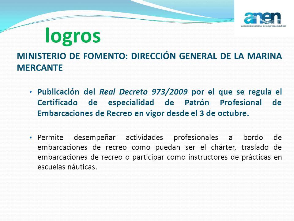 logros MINISTERIO DE FOMENTO: DIRECCIÓN GENERAL DE LA MARINA MERCANTE Publicación del Real Decreto 973/2009 por el que se regula el Certificado de esp