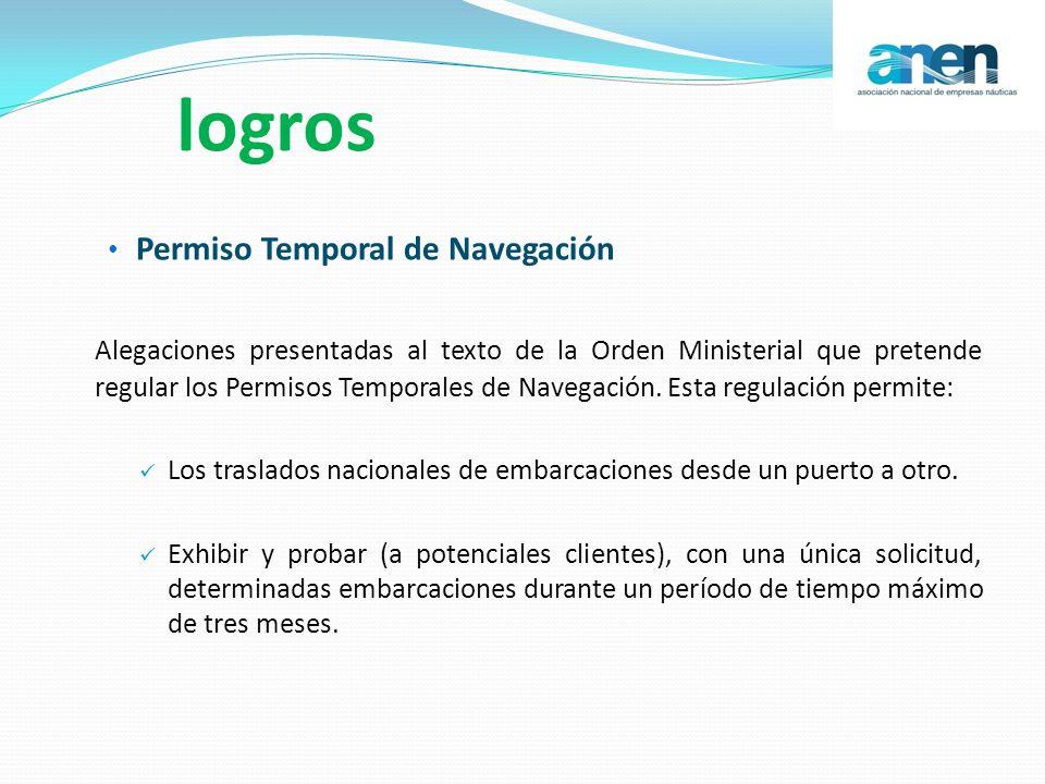 logros Permiso Temporal de Navegación Alegaciones presentadas al texto de la Orden Ministerial que pretende regular los Permisos Temporales de Navegac