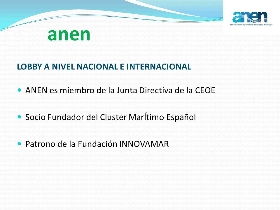 anen LOBBY A NIVEL NACIONAL E INTERNACIONAL ANEN es miembro de la Junta Directiva de la CEOE Socio Fundador del Cluster MarÍtimo Español Patrono de la