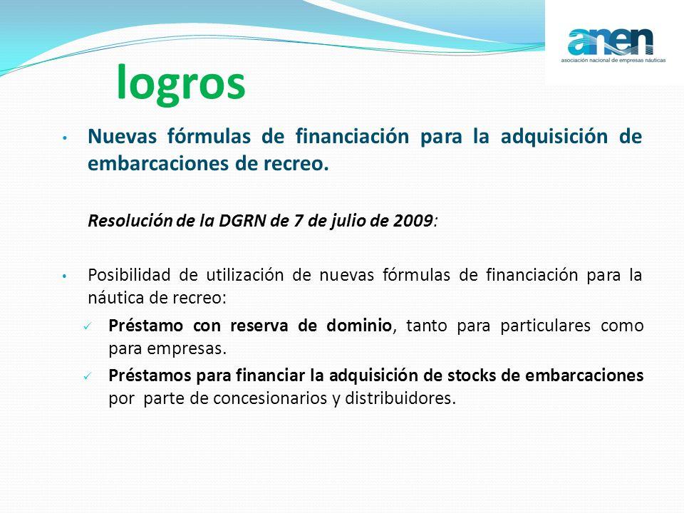 logros Nuevas fórmulas de financiación para la adquisición de embarcaciones de recreo. Resolución de la DGRN de 7 de julio de 2009: Posibilidad de uti