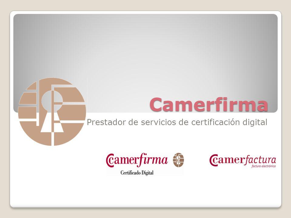 AC Camerfirma Camerfirma nace como proyecto del Consejo Superior de Cámaras de Comercio en 1997 con el objetivo de ofrecer servicios de certificación.