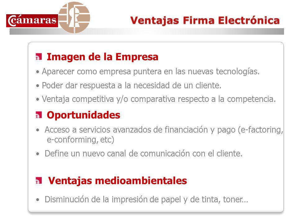 Ventajas Firma Electrónica Imagen de la Empresa Aparecer como empresa puntera en las nuevas tecnologías. Poder dar respuesta a la necesidad de un clie