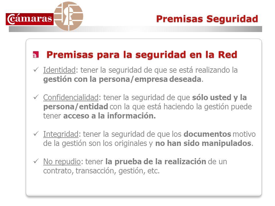 Premisas Seguridad Premisas para la seguridad en la Red Premisas para la seguridad en la Red Identidad: tener la seguridad de que se está realizando l
