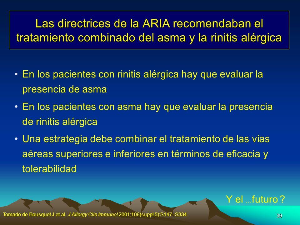 139 Las directrices de la ARIA recomendaban el tratamiento combinado del asma y la rinitis alérgica En los pacientes con rinitis alérgica hay que eval