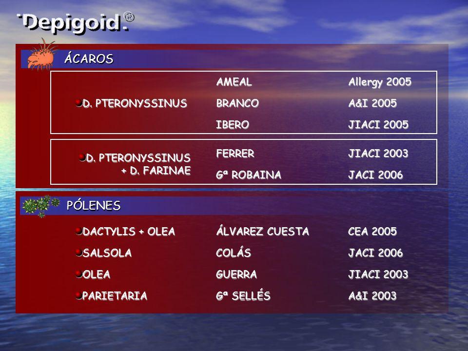 ÁCAROS ÁCAROS PÓLENES PÓLENES ÁLVAREZ CUESTA CEA 2005 DACTYLIS + OLEA D. PTERONYSSINUS Allergy 2005 AMEAL A&I 2005 BRANCO JIACI 2005 IBERO JIACI 2003