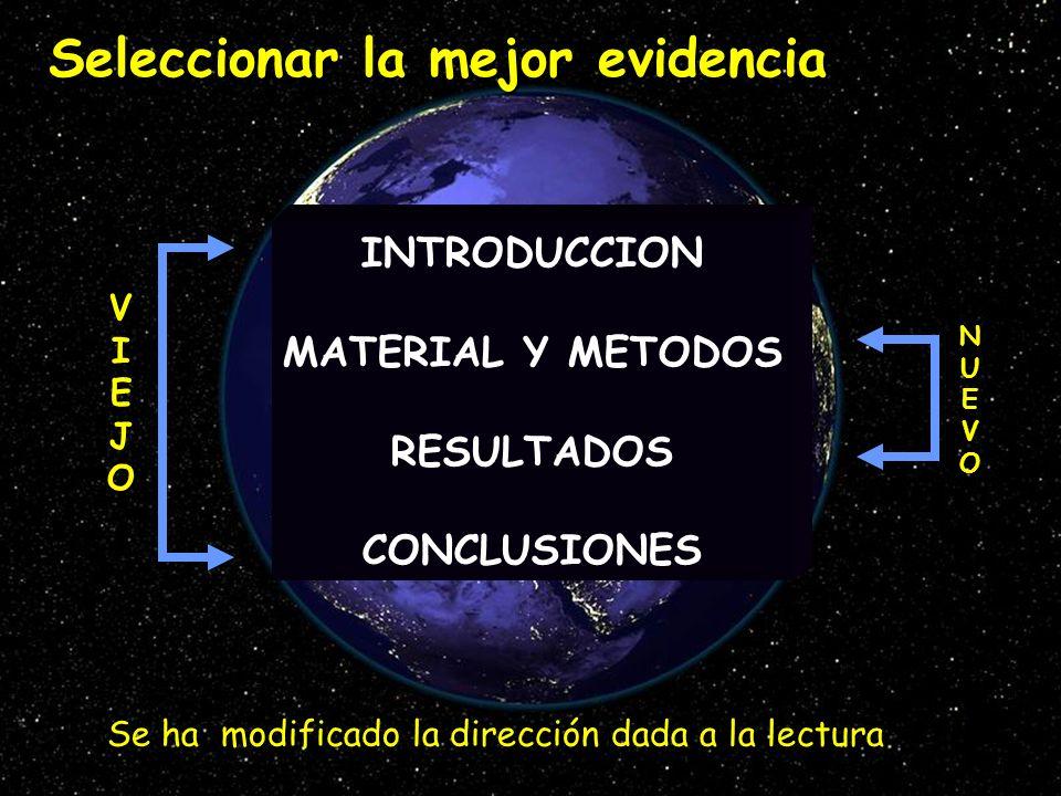 Seleccionar la mejor evidencia INTRODUCCION MATERIAL Y METODOS RESULTADOS CONCLUSIONES Se ha modificado la dirección dada a la lectura NUEVONUEVO VIEJ