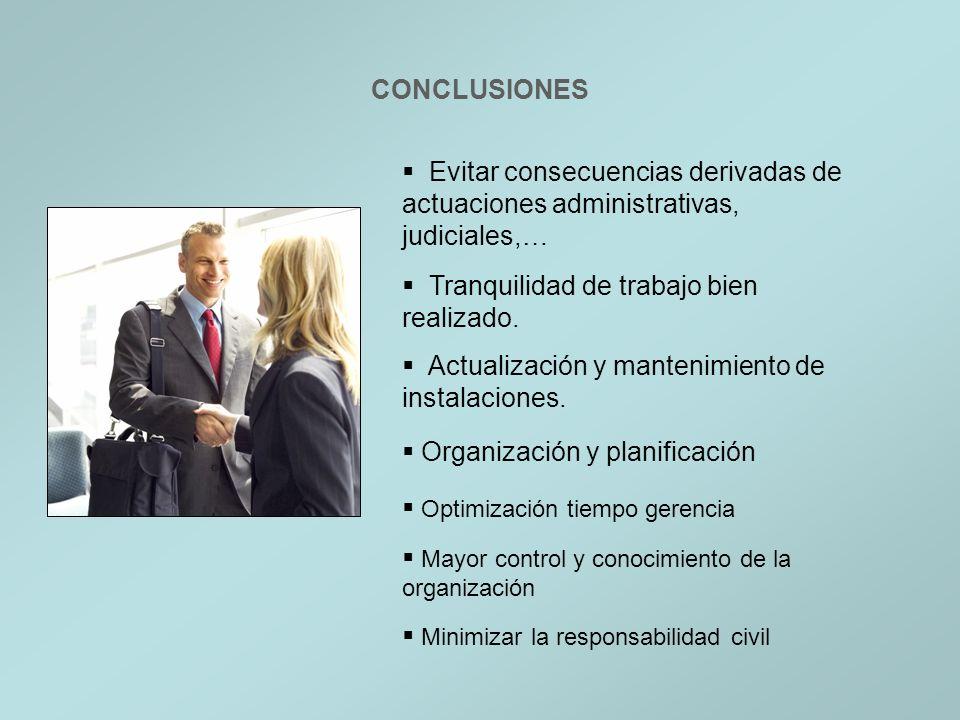 CONCLUSIONES Evitar consecuencias derivadas de actuaciones administrativas, judiciales,… Tranquilidad de trabajo bien realizado. Actualización y mante