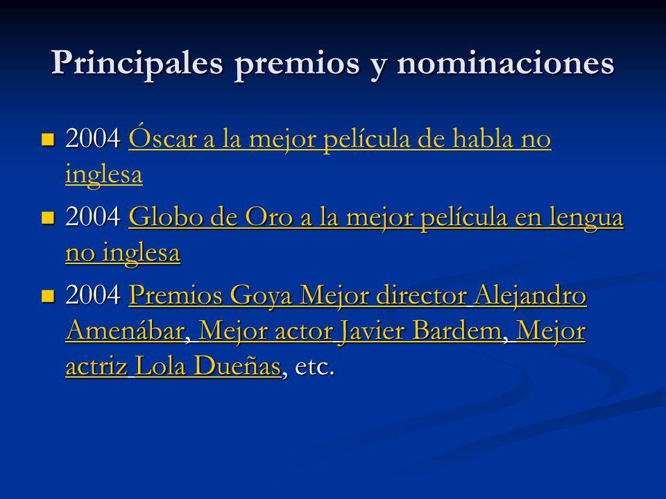 Principales premios y nominaciones 2004 2004 Óscar a la mejor película de habla no inglesaÓscar a la mejor película de habla no inglesa 2004 Globo de