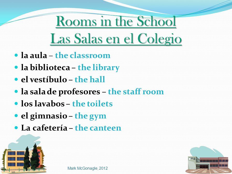Rooms in the School Las Salas en el Colegio la aula – the classroom la biblioteca – the library el vestíbulo – the hall la sala de profesores – the st