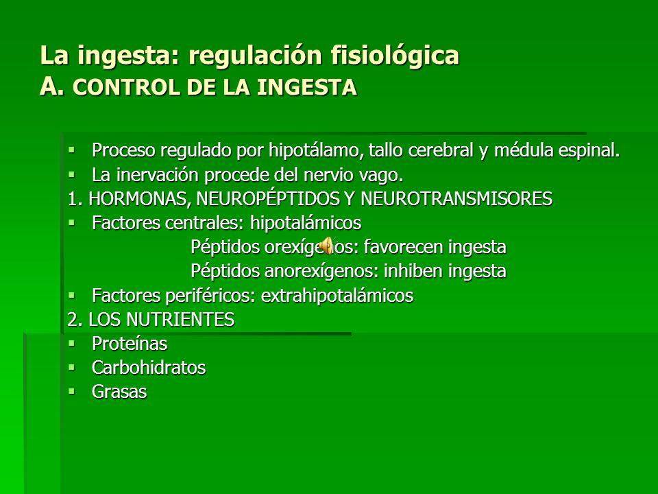 La ingesta: regulación fisiológica A.