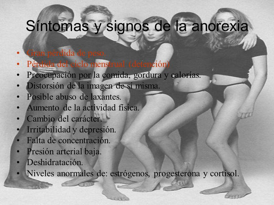Síntomas y signos de la anorexia Gran pérdida de peso. Pérdida del ciclo menstrual (detención) Preocupación por la comida, gordura y calorías. Distors