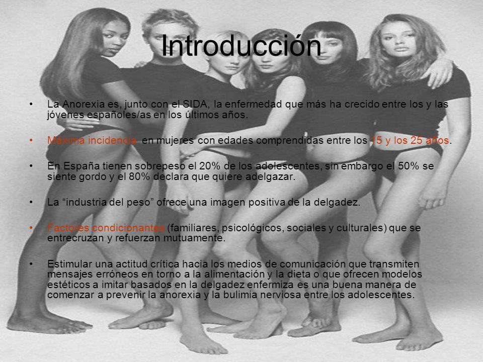 Introducción La Anorexia es, junto con el SIDA, la enfermedad que más ha crecido entre los y las jóvenes españoles/as en los últimos años. Máxima inci